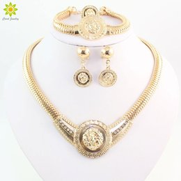 Wholesale costume jewelry rings wholesale - High Qualiyt Gold Color Fashion Fine Lionhead Necklace Bracelet Ring Set Wedding Bridal Costume Jewelry Sets
