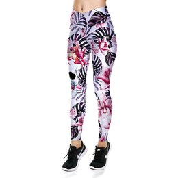 Pantaloni yoga del cranio online-Pantaloni sportivi di Halloween Pink Flower Skull Lady Pantaloni sportivi Yoga Leggings Fitness Running Tight Gym Exercise Pants