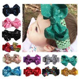 Wholesale Big Glitter Bows - baby Headwear Head JOJO Sequin Hair Accessories 5.5 inch Big Glitter JOJO Bow with soft Elastic crochet headbands stretchy hair band