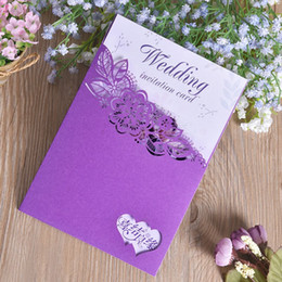 Wholesale Laser Cut Invitation Cards - Purple Laser Cut Wedding Invitations Cards Eco Friendly Paper Greeting Card Invitation For Marrige Hollow Out Decorations 0 88cf BZ