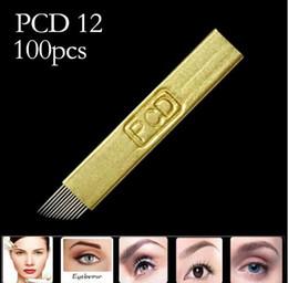 Aghi dello shader online-100 pezzi Microblading 12 pin Hard PCD ago 12 pennelli trucco permanente sopracciglio aghi per tatuaggio forniture