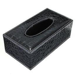 Wholesale Leather Napkin Holder - Wholesale- GSFY-Durable Home Car Rectangle PU Leather Tissue Box Paper Holder Case Cover Napkin(black Crocodile Grain)