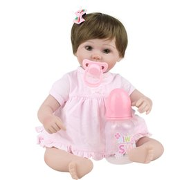 Wholesale Handmade Collectible Dolls - 17 Inch Silicone Reborn Baby Dolls Handmade Lifelike Newborn Baby Brand Doll Soft Fashion Dolls For Girls Toys Gift Brinquedos