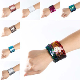 Wholesale China Wholesale Bracelets - Double Reversible Mermaid Sequin Bracelet Bangle Cuffs Wristband Glitter Colorful Mermaid Bracelet Bands Fashion Jewelry Women Gift Dropship