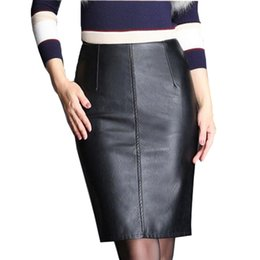 Wholesale Plus Size Pencil Skirts Green - LXMSTH 4XL 5XL Autumn Winter Package Hip Leather Skirt Women Plus Size Pencil Skirts 2017 High Waist Slim Black Leather Skirts