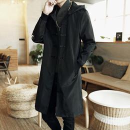 2019 china trench coat 2017 estilo da China dos homens trincheira jaqueta masculina primavera outono kimono cardigan casaco punk moda casual longo trench outwear china trench coat barato