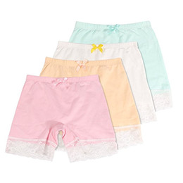 Wholesale Girls Boxers Shorts - Girls Lace Underwear Briefs, Dance, Bike Shorts ,4 Packs Safety Legging Panties-For sports or under skirts