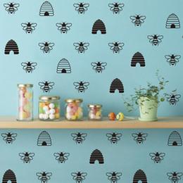 Decorazioni di api di miele online-Stile francese Oro Bee Creativo Murale Vinile Decalcomanie Honey Beehive Wallpaper Wall Stickers Decorazione FQ0030