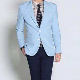 Alta calidad azul claro de la boda de encargo de los hombres chaqueta de traje de ocio ocasiones formales mejor hombre traje de moda dos granos de botones desde fabricantes