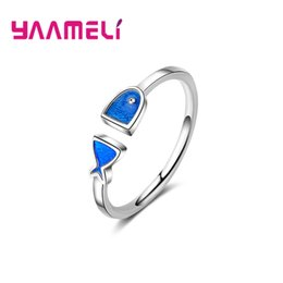 b3be44e05 YAAMELI Lovely 925-Sterling-Silver-Jewelry Rings for Women Girls Blue  Enamel Fish Design Opening Resizable Size Nice Gifts girl ring design silver  on sale