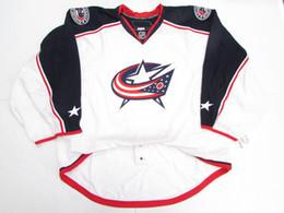 Wholesale Ice Hockey Goalie Jersey - Cheap custom COLUMBUS BLUE JACKETS AWAY TEAM ISSUED Stitched EDGE 2.0 7287 JERSEY GOALIE CUT