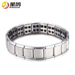 Wholesale Indian Jewelry For Men - Hot Sale Energy Magnetic Health Bracelet for Women Men health Style Plated Silver Stainless Steel Bracelets Gifts Fashion Jewelry Wholesale