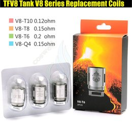 Wholesale coil head core - Top Quality TFV8 Coils V8-T10 V8-T8 V8-T6 V8-Q4 RBA Series Core Head TFV8 Cloud Beast Tank Vaporizers e cigs vapor RDA Replacement Atomizers
