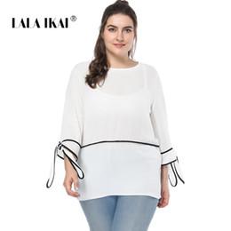 b538ffc1f43 LALAIKAI Plus Größe XL 2XL 3XL 4XL 5XL Kontrast Rand T-shirt Frauen Weiß  Drei Viertel Tops Lose Patchwork T Mädchen SWA1534-47 günstig weißes  kontrasthemd
