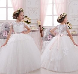 fee6718514a New Fluffy Tulle Lace White Flower Girl Dress for Wedding Short Sleeve Ball Gown  2018 First Communion Gown Any Size