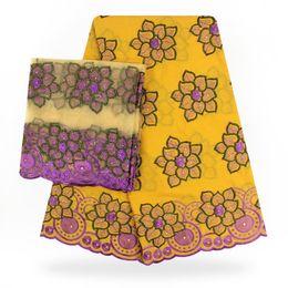 Pizzo di cotone 5yards di alta qualità + 2 yards set di tessuto di cotone svizzero con tessuto di cotone svizzero con corrispondenza di camicetta da pizzo giallo george fornitori