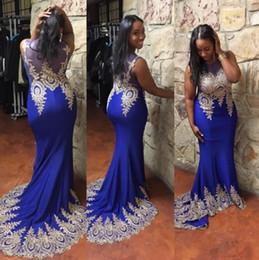 Deutschland elegante schwarze Mädchen Meerjungfrau blau Abendkleider schiere Hals unten Goldapplikationen Spitze Abendkleid plus Größe afrikanische Kleider Abendgarderobe Versorgung