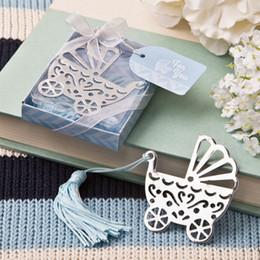 (10 unids / lote) ENVÍO GRATIS + Diseño de cuna de metal plateado para bebés con marcador azul y borla para favores de la ducha del bebé desde fabricantes