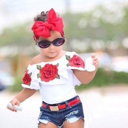 Wholesale kids flower shirts - Summer Baby Kids Girls Clothes 3D Flower print sleeveless Ruffle round neck pullover T-Shirts Denim Hole Pants 2pc cotton Set