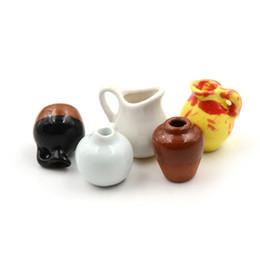 1 Stücke 1:12 Mini Keramiktopf DIY Handgemachte Puppenhaus Küche Keramik Ornament Decora Vase Puppenhaus Miniaturen von Fabrikanten