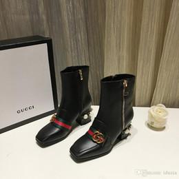 2019 bottes directes d'usine AA Top en cuir chaussures lacets Ribbon boucle de ceinture bottines usine directe femelle talon rugueux tête ronde automne hiver promotion bottes directes d'usine