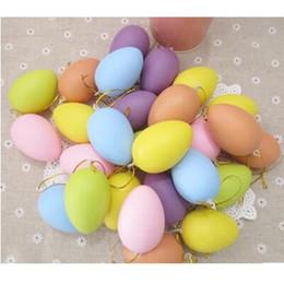 2019 huevos de pascua de plastico Color mezclado pintura de bricolaje huevo con cuerda colgante de plástico huevo de pascua niños regalos de Pascua decoración del hogar
