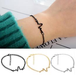 großhandel herzschlag schmuck Rabatt Explosionen Schmuck einfache Persönlichkeit Design EKG Blitz Armband Paar Herzschlag Frequenz Armband Großhandel Kostenloser Versand