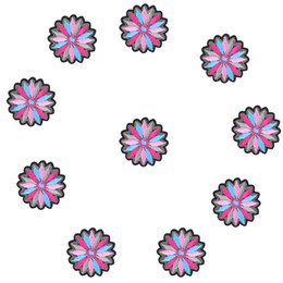 Wholesale Diy Clothes Dress Flowers - 10PCS Colorful Flower Embroidered Patches for Clothing Iron on Transfer Applique Patch for Dress Bags DIY Sew on Embroidery stickers