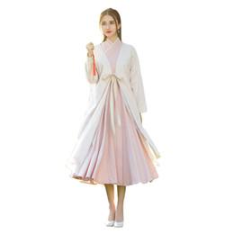 Wholesale Folk Skirt - 2018 Chinese features new skirt female Chinese Hanfu suede coat lace elements Bei retro folk style Hanfu skirt suit