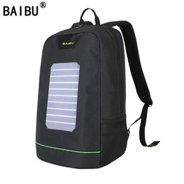 Wholesale Usb Solar Power - BAIBU Men Backpack 10W Solar Powered Backpack Usb Charging Anti-Theft Laptop Backpack for women Laptop Bagpack Waterproof Bags