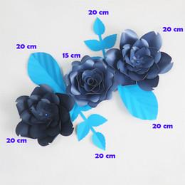 Flores artificiales de color azul oscuro online-DIY Giant Paper Flowers Artificial Flowers Fleurs Artificielles Backdrop Rose 3CS + 4 Leave Wedding Party Decor Nursery Dark Blue