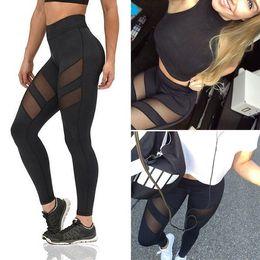 Wholesale black stretch leggings - Women High Waist Yoga Fitness Leggings Running Gym Stretch Sports Pants Trousers