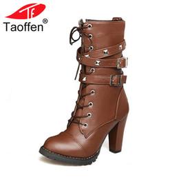 0f615c2b9 TAOFFEN Zapatos de mujer Botas de mujer Tacones altos Plataforma Hebilla  Cremallera Remaches Sapatos femininos Botas de cuero con cordones Talla  34-48