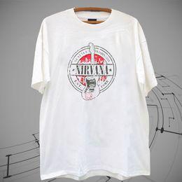 Tees de guitarra online-¡Nuevo! NIRVANA EST 1988 GUITAR SELLO KURT COBAIN Camiseta de camiseta blanca XS-2XL