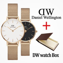 W relojes online-2019 Top lujo Daniel mujeres hombres Wellington's fashion dw Amantes mujeres malla de acero oro para hombre relojes marca montre femme relojes