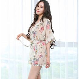 Wholesale Transparent Babydoll Dresses - Sexy Women Deep-V Lingerie Nightwear Robes Floral Printing Chiffon Babydoll Dress Female Kimono Bathrobes Transparent Sleepwear Pajamas