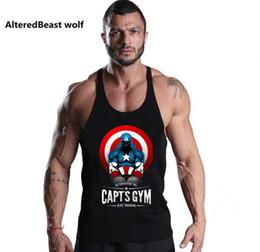Wholesale America Fitness - 2018 Captain America Print Men Tank Tops Bodybuilding Cotton Tank Top Brand Workout Men Vest Fitness Sleeveless Shirt Clothing