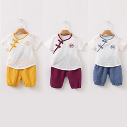 Wholesale Chinese Boys Suit - Wholesale 2018 new summer chinese costume tang suit for baby boy clothes cotton linen short sleeve 2pcs suit top shorts kids outfit 80-120cm