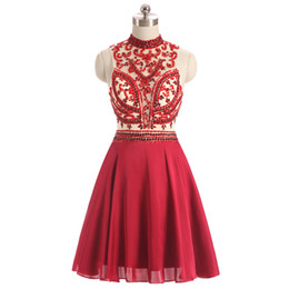 Canada Sexy Homecoming Dresses Sheer Decolleté Nude Doublure Dark Red Party Dress Major Perlage Sequins Robes De Bal Pas Cher Offre