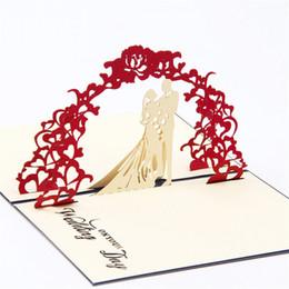 Biglietti da visita fiore fatti a mano online-Commercio all'ingrosso - nozze fiore arco matrimonio invito personalizzare / 3D pop-up biglietto di auguri / carte di nozze fatti a mano Spedizione gratuita KT0348