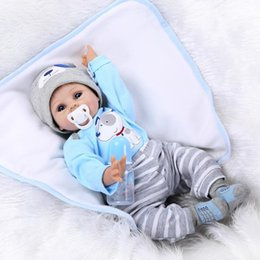 Wholesale Lifelike Inflatable Dolls - Wholesale- Reborn Baby Doll Soft Silicone 22inch 55cm Magnetic Mouth Lovely Lifelike Cute Boy Girl Toy