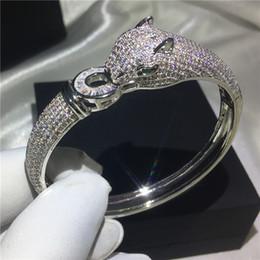 Zirconia cúbica brazalete conjuntos online-Leopard Shape Bangle Pave setting 400pcs 5A zirconia cúbica Pulsera de color plata brazaletes brillantes para las mujeres accesorias de la boda
