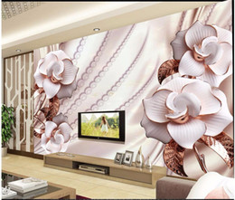 Wholesale Gold Wallpaper For Bedroom - Custom Photo Mural 3D Stereo Gold Jewelery Flowers 3d TV Backdrop Wall Decorative Wallpapers Papel de Parede Mural