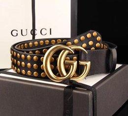 Wholesale G Men Belts - 2018 Big large g buckle genuine leather belt with box designer belts men women high quality new mens belts luxury brand belt free shipping
