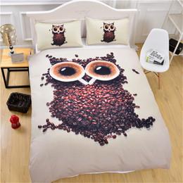 letti king size del gufo Sconti 3D Cute Owl Bedding Set chicchi di caffè stampato copripiumino con federe singola regina king size morbida trapunta 3 pezzi nuovo