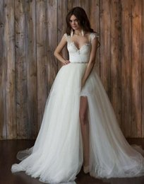 Wholesale Low Back Line Wedding Dresses - High Low Lace Wedding Dresses Bridal Gowns Sexy Sheath Detachable Skirt Short In Front Long In Back Vintage with Cap Sleeves Beaded