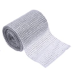 Wholesale Sparkle Trim - 5 Yard Sparkle Mesh Trim Diamond Wrap Roll Rhinestone Silver Ribbons Wrapper Roll for Wedding Party Decoration