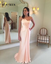 Wholesale Straight Ivory Wedding Dresses - Straight One Shoulder Mother Of The Bride Dresses Simple Elegant Pink Chiffon Groom Mother Gowns For Wedding Party Long vestidos de novia