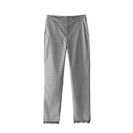 Wholesale Ladies Working Pants - Women Vintage Plaid Checkered Pants Elastic High Waist Basic Brief Ladies Casual Work Wear Autumn Pleated Ankle-Length Trousers