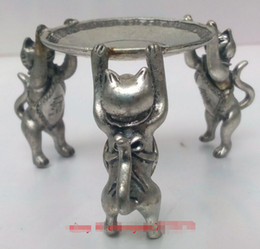 Canada Chinois Tibet Argent Animal 3 Lampe à huile de chat Porte-bougie Statue de chandelier AAAA cheap antique bedroom lamps Offre